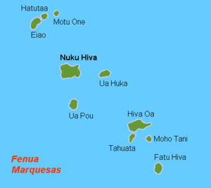 Map (rough) of the Marquesa Islands, French Po...